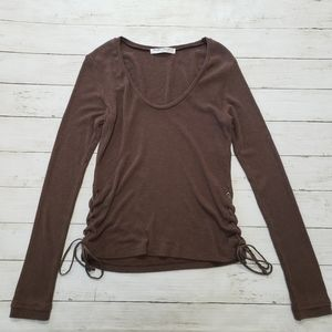 Project Social T - Brown Side Lace Up Long Sleeve
